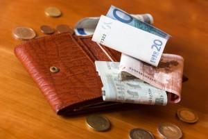 Porte-monnaie et quelques euros